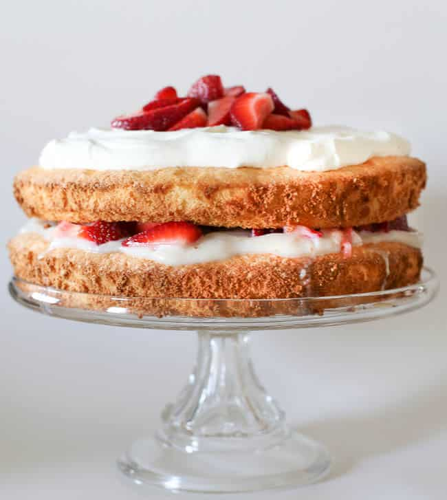 strawberry lemon sponge cake with limoncello spiked cream