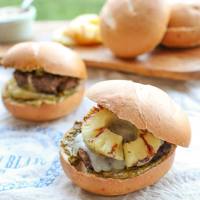 Grilled Pineapple Burgers with Cilantro-Roasted Red Pepper Pesto