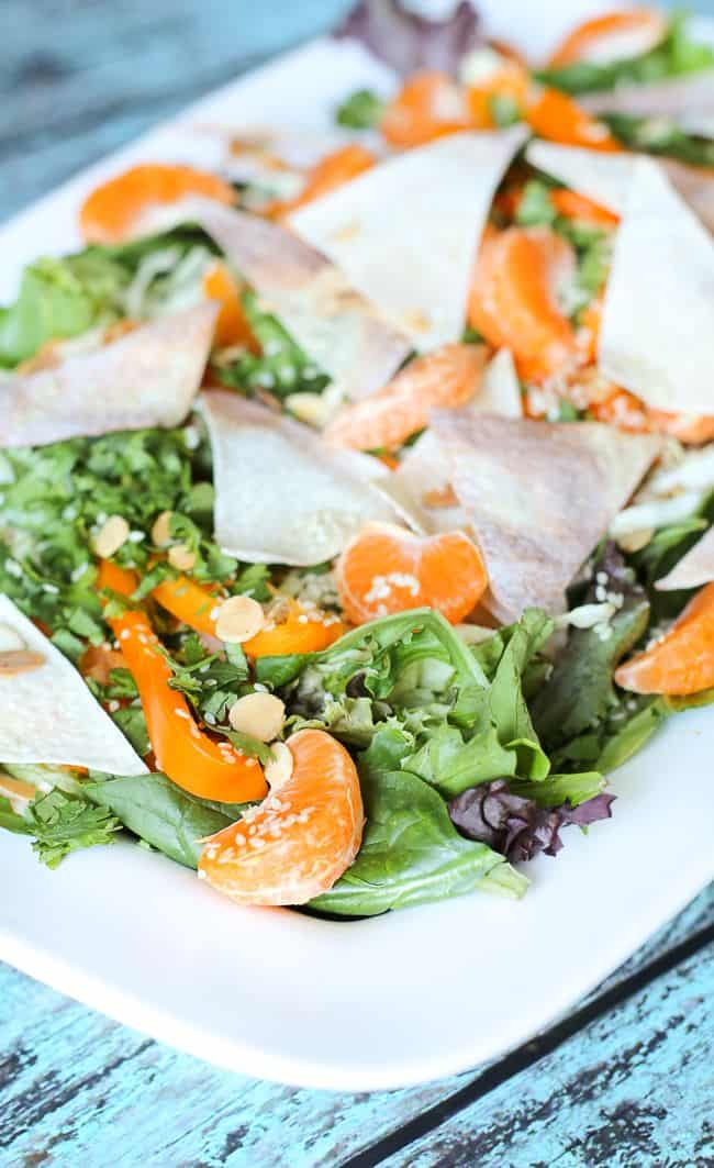 ... Style Salad with Crispy Wontons, Almonds, and a Sesame Soy Dressing