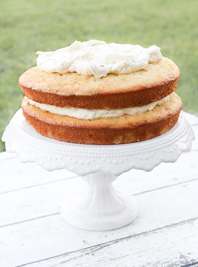 Layered Pear Cake with Rumchata Mascarpone Cream - FashionEdible