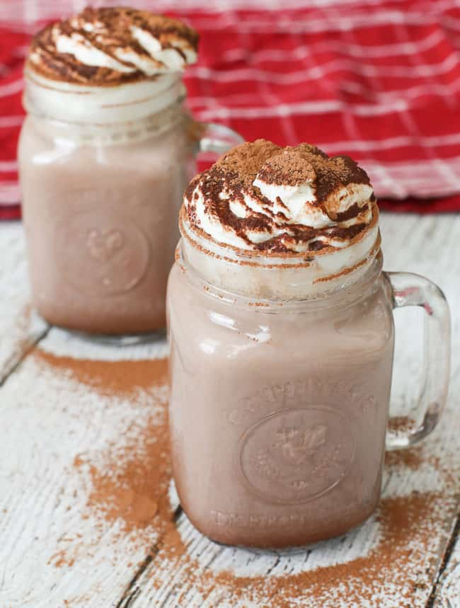 Cinnamon hot chocolate made for adults with a rum + horchata liqueur - perfect for the holidays!