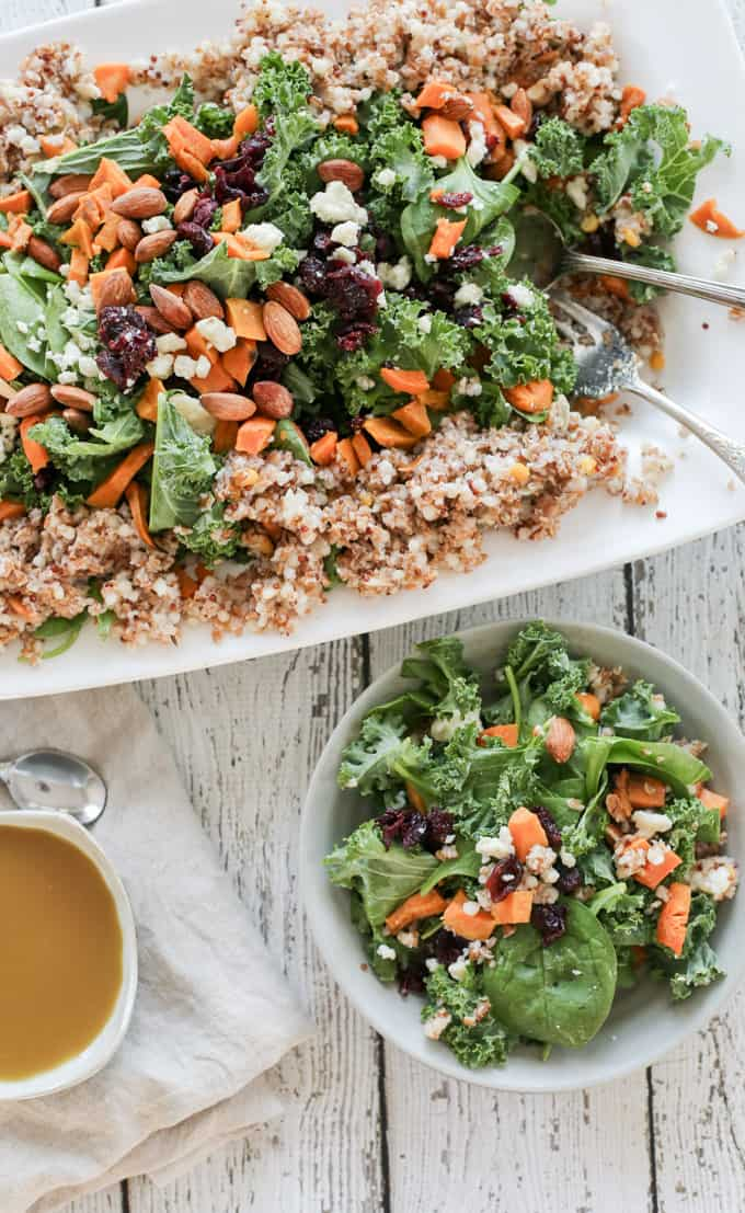 Quinoa Bulgur Salad with Sweet Potatoes, Kale, Almonds, Gorgonzola and ...