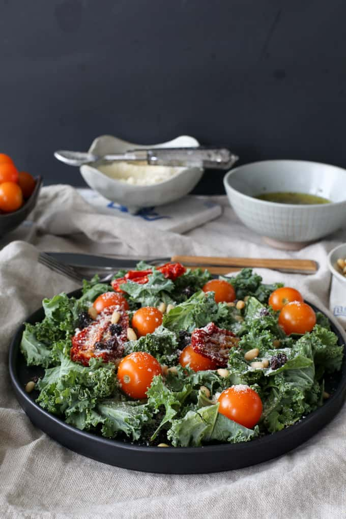... pine nuts shredded kale salad with pine nuts currants and parmesan