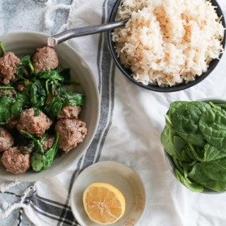 Middle Eastern Spinach with Meatballs, Lemon + Rice