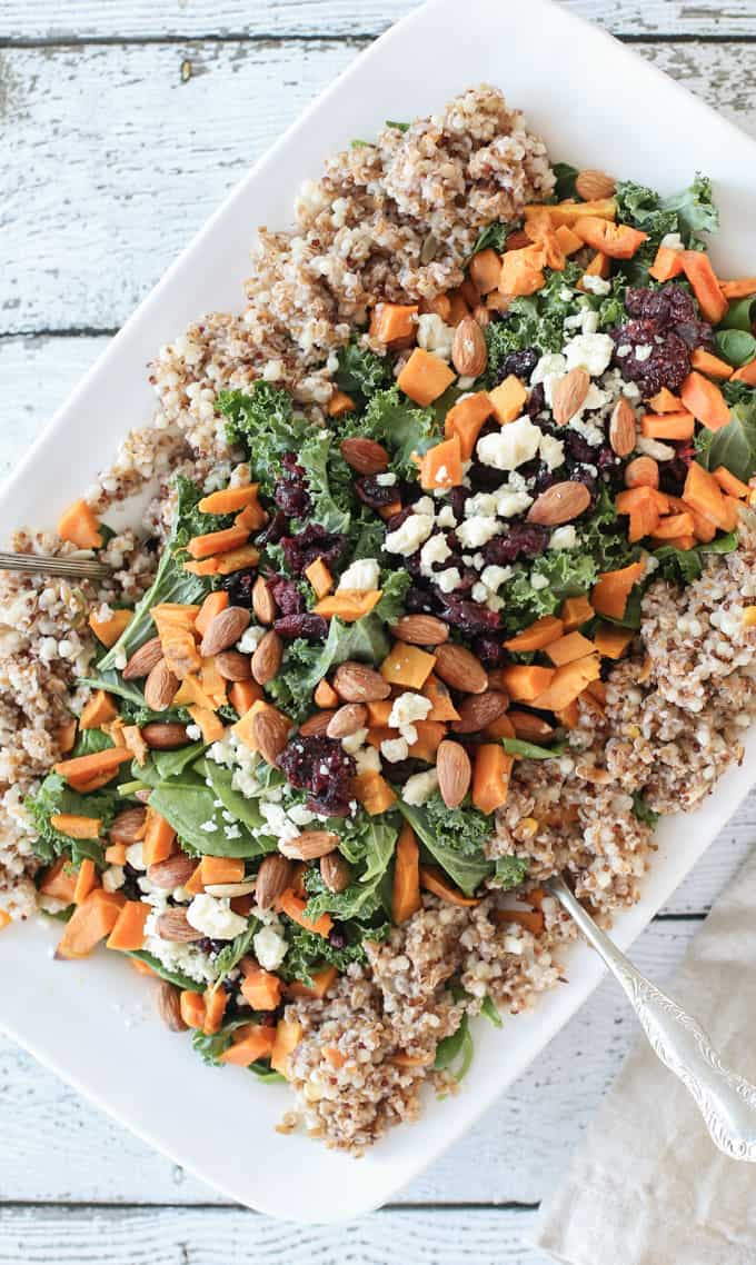 Quinoa Kale Salad with Roasted Sweet Potatoes – Colorful. Healthy ...