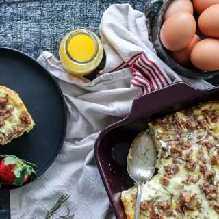 Goat Cheese + Sausage Breakfast Casserole
