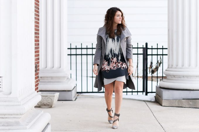 Printed Tunic with a gray wool coat and gray heels