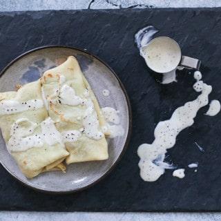 Mushroom Spinach Ricotta Crepes w. Dijon Cream