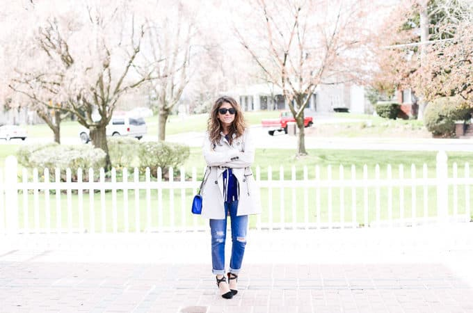 spring look: trench coat, striped top, distressed boyfriend denim