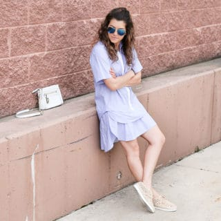 sporty glam: ruffled dress, espadrille sneakers, white crossbody