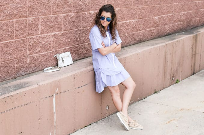 sporty glam: ruffled dress, espadrille sneakers, white crossbody