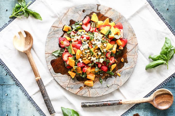 Healthy summer salad: strawberry mango basil salad