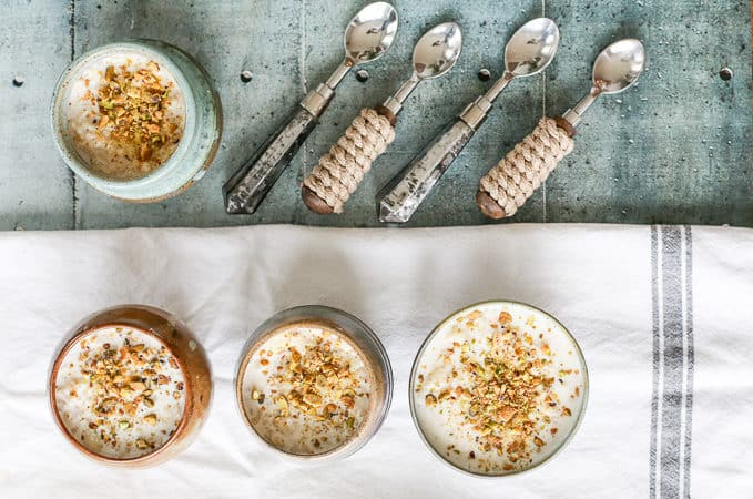 Syrian Rice Pudding with Orange Blossom Water and Pistachios