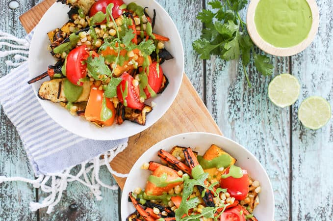 Grilled Zucchini and Carrot Salad with Cilantro Dressing