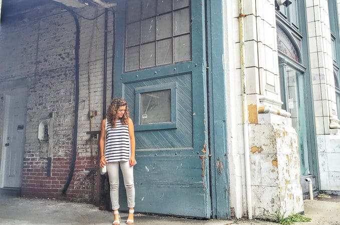 Distressed White Denim Striped Tank