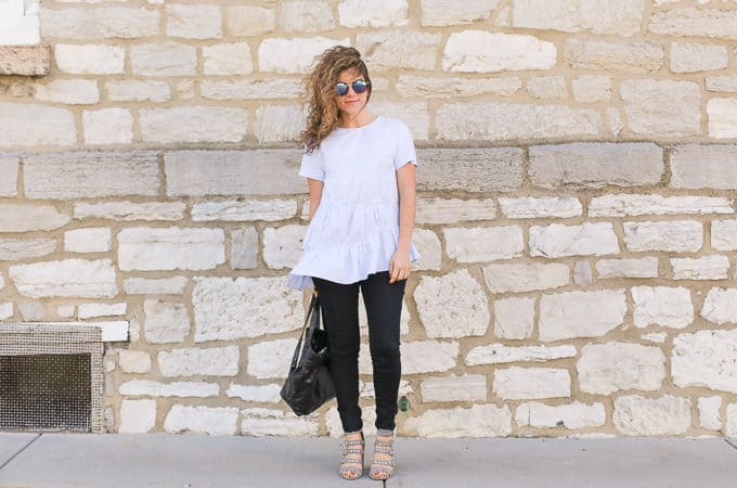 zara ruffle top and black denim