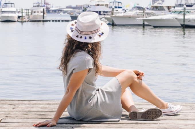 Gray Dress with White Tassel Hat
