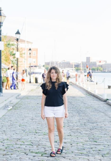 Black Ruffle Sleeve Top White Denim Shorts