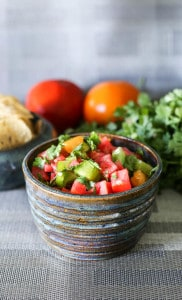 fresh and chunky tomato and green pepper salsa