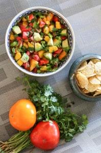 chunky mango and avocado salsa