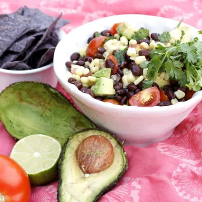 Bean corn avocado tomato salad