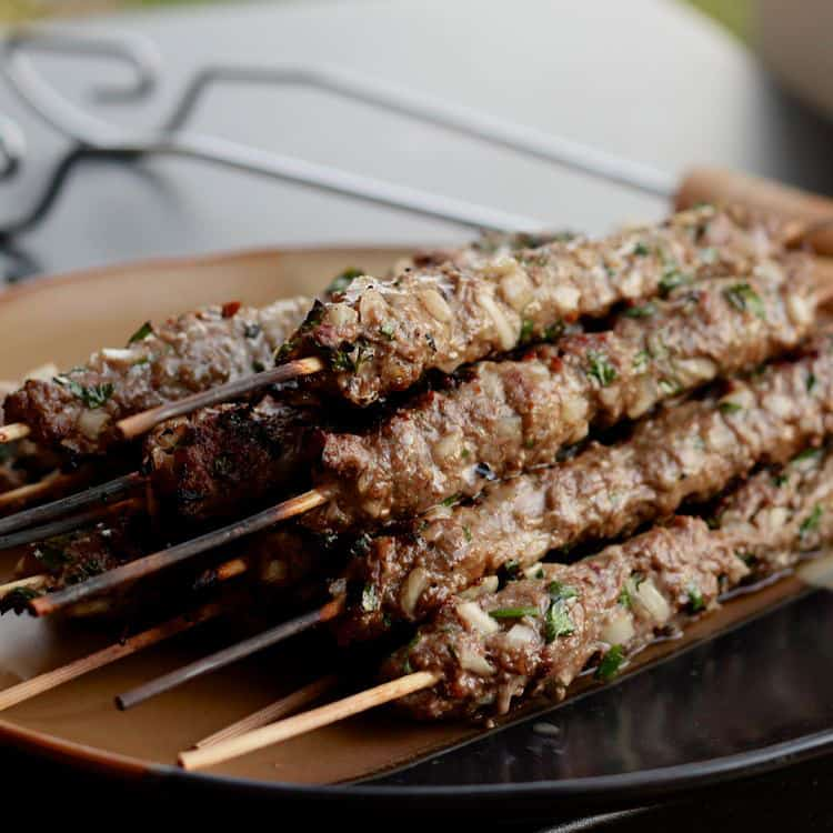beef kebabs parsley onions