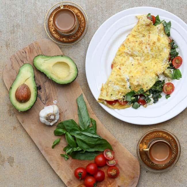 Fresh Mozzarella Omelettes with Tomato, Basil & Avocado