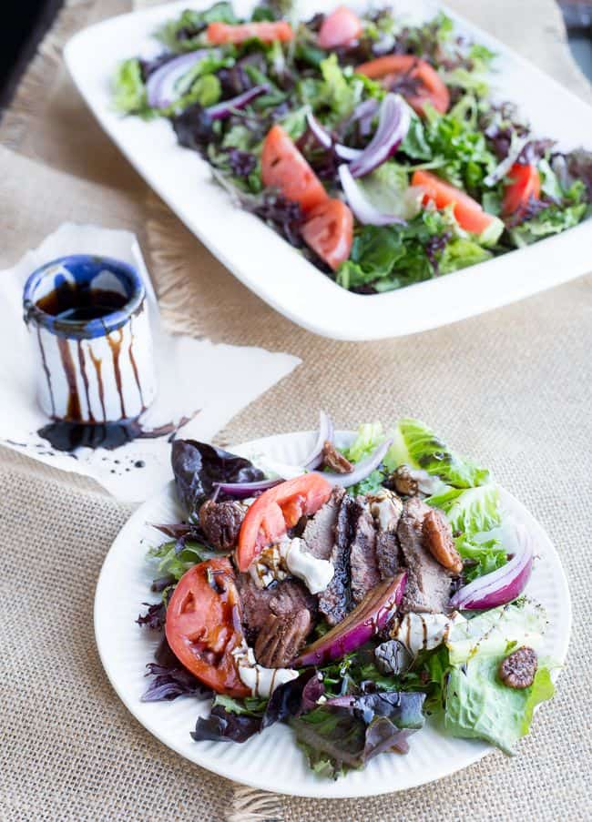 Steak Salad with Balsamic Glaze and Candied Pecans