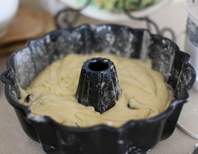 blueberry coconut bundt cake with a lemon glaze