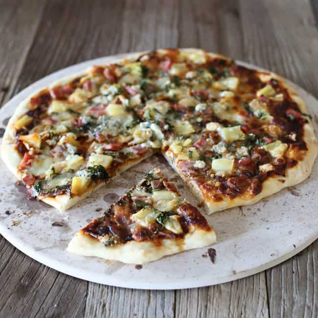 BBQ Pineapple Cilantro Ham Pizza