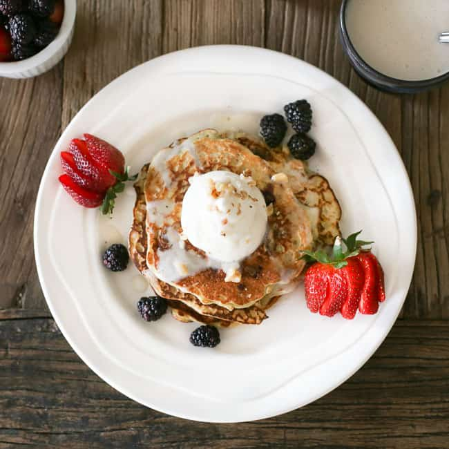 gluten free blueberry pancakes with coconut maple syrup