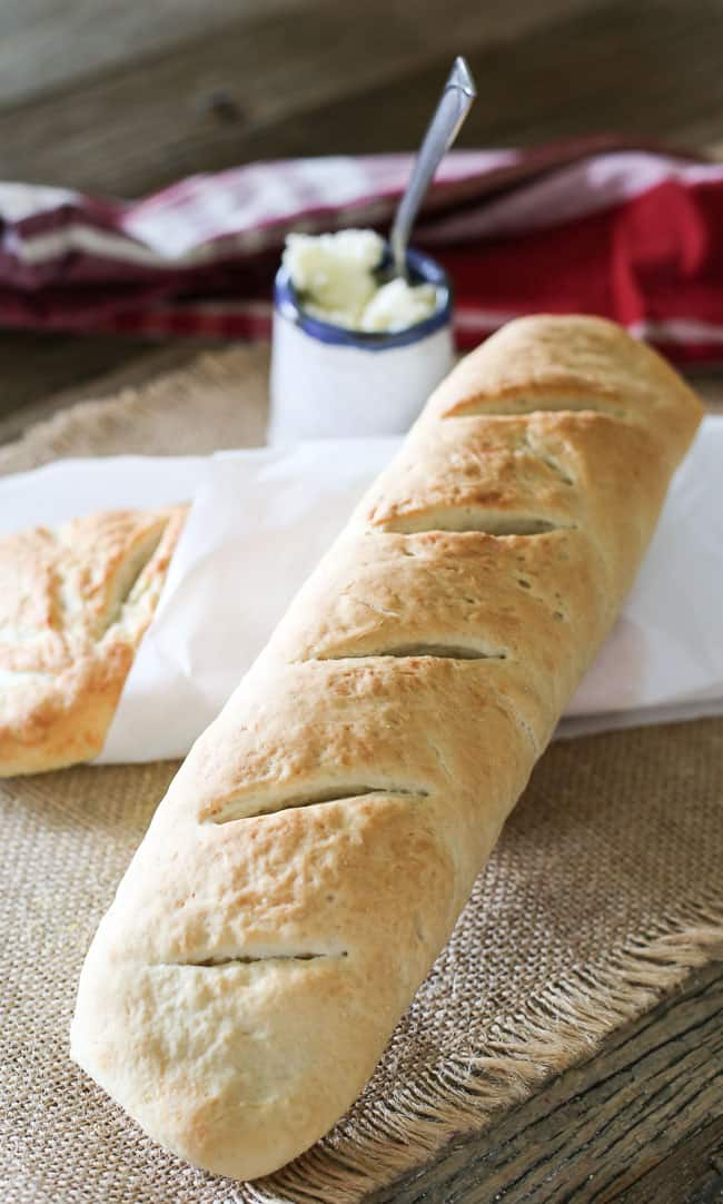 homemade French style baguette