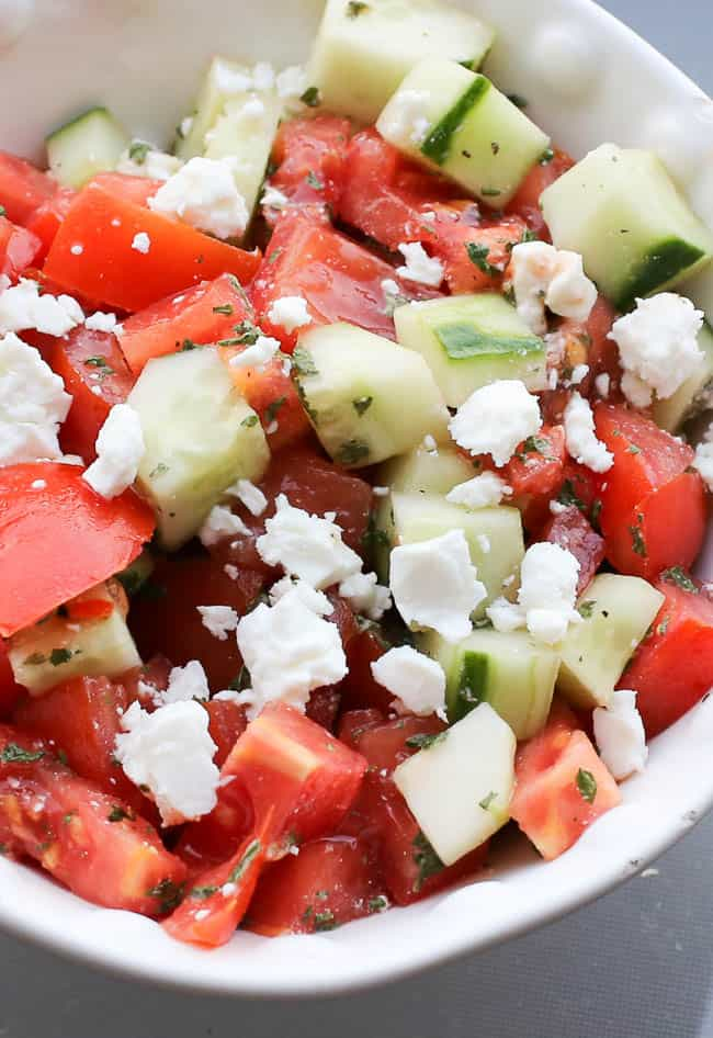 feta tomato cucumber salad with dried mint