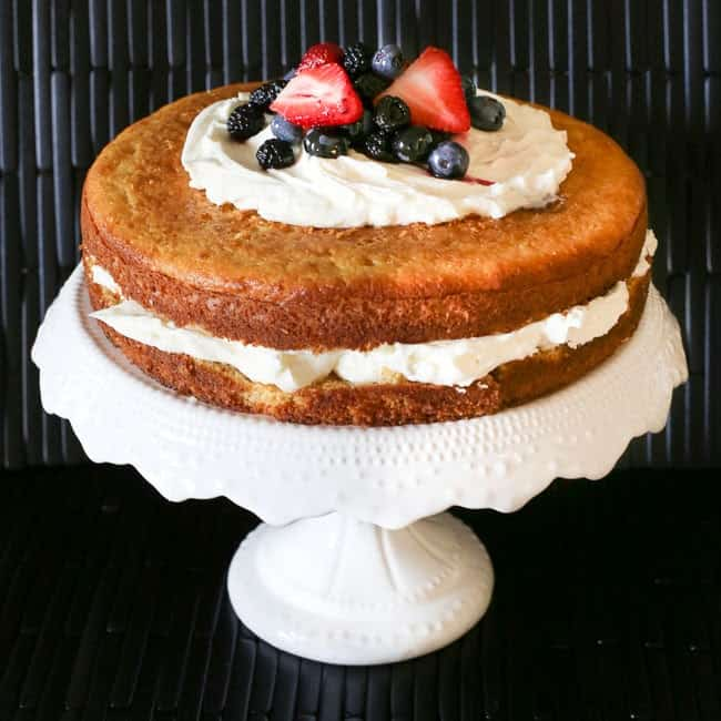 Mascarpone Cream Cake with Marsala-Infused Mixed Berries
