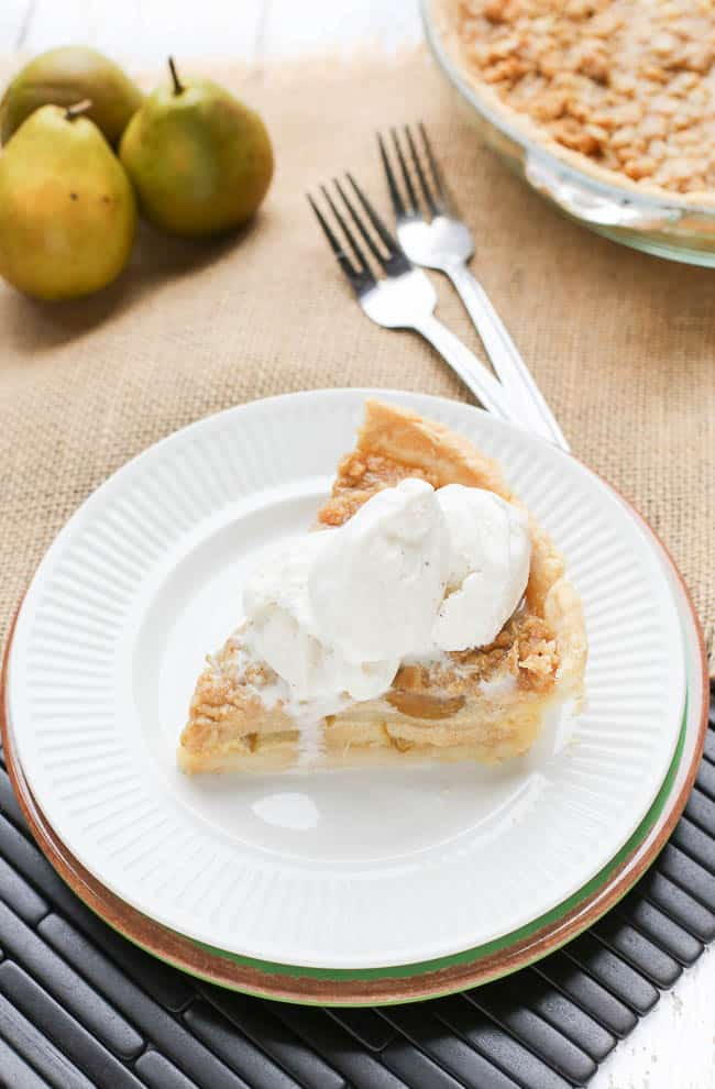 Buttermilk Pear Pie with a Crumble Topping