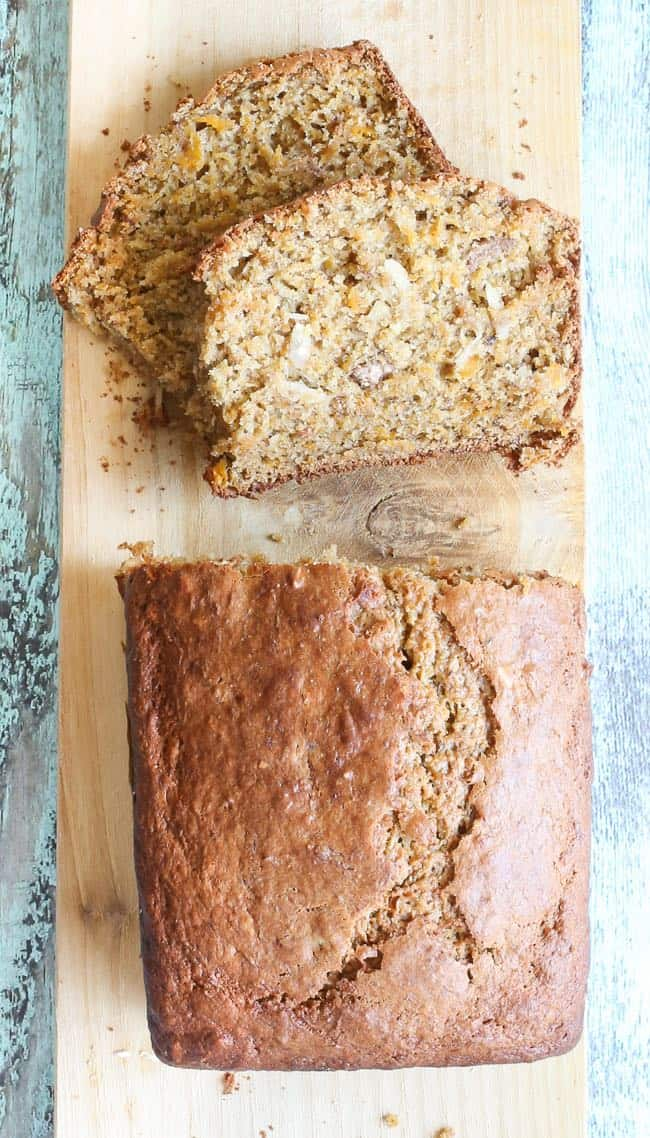 butternut squash bread with almonds - lightened with yogurt and perfect for breakfast!