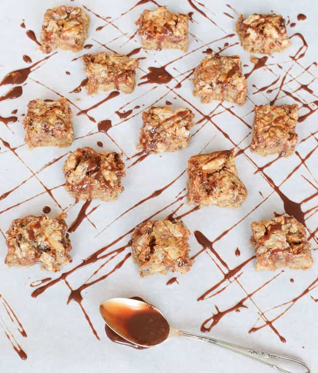 an easy Christmas cookie to make for toffee pecan chocolate bars