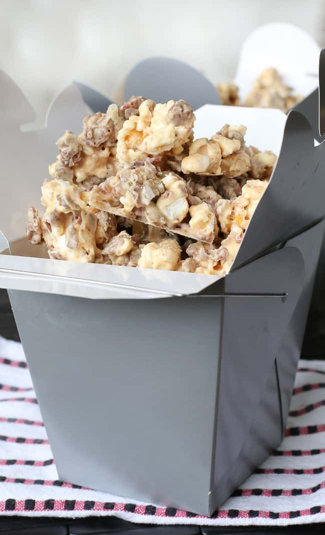 white Chocolate, peanut butter, popcorn, cereal, pumpkin seeds and walnuts mix - easy to make and so good it's hard to stop eating!