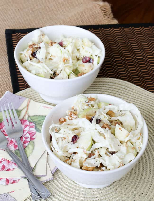 an apple walnut slaw salad with a creamy dressing and cranberries - great for a snack or as a side dish!