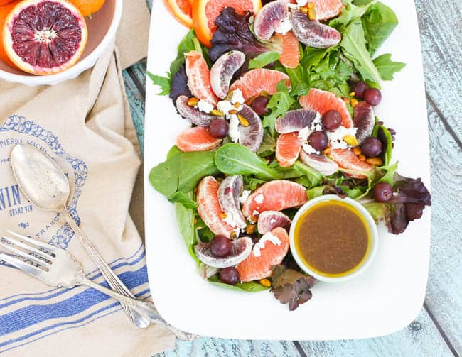 blood oranges and Cara Cara oranges are the focus of this delicious salad - served with an orange balsamic dressing