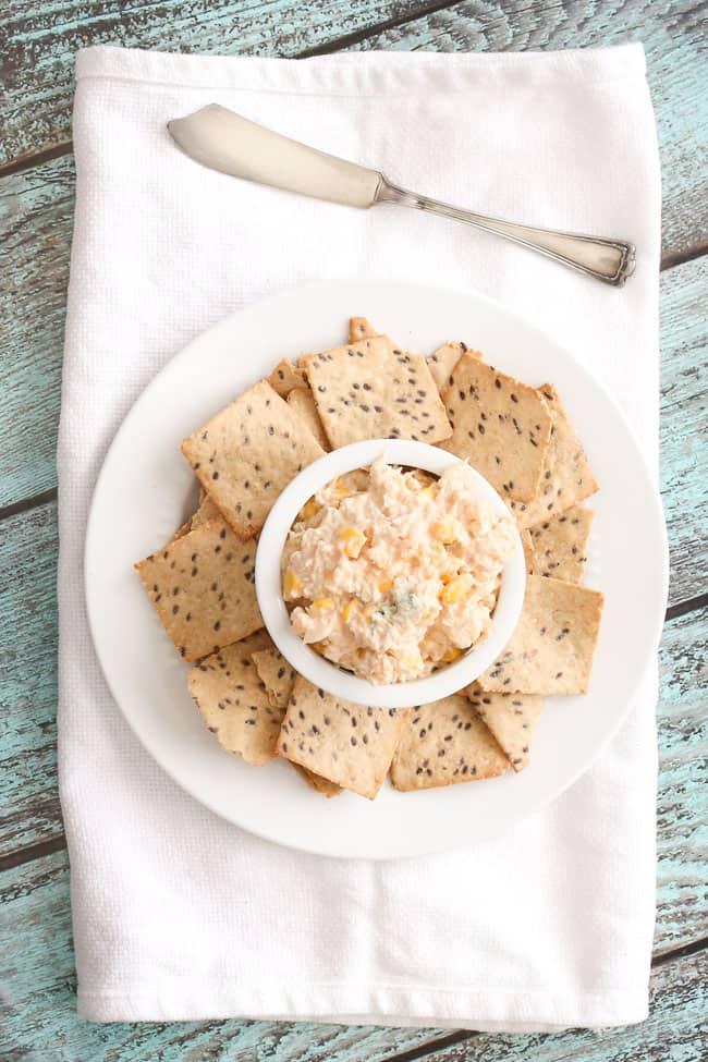 a vegetarian buffalo dip that uses cauliflower instead of chicken - delicious buffalo and blue cheese flavor with corn!