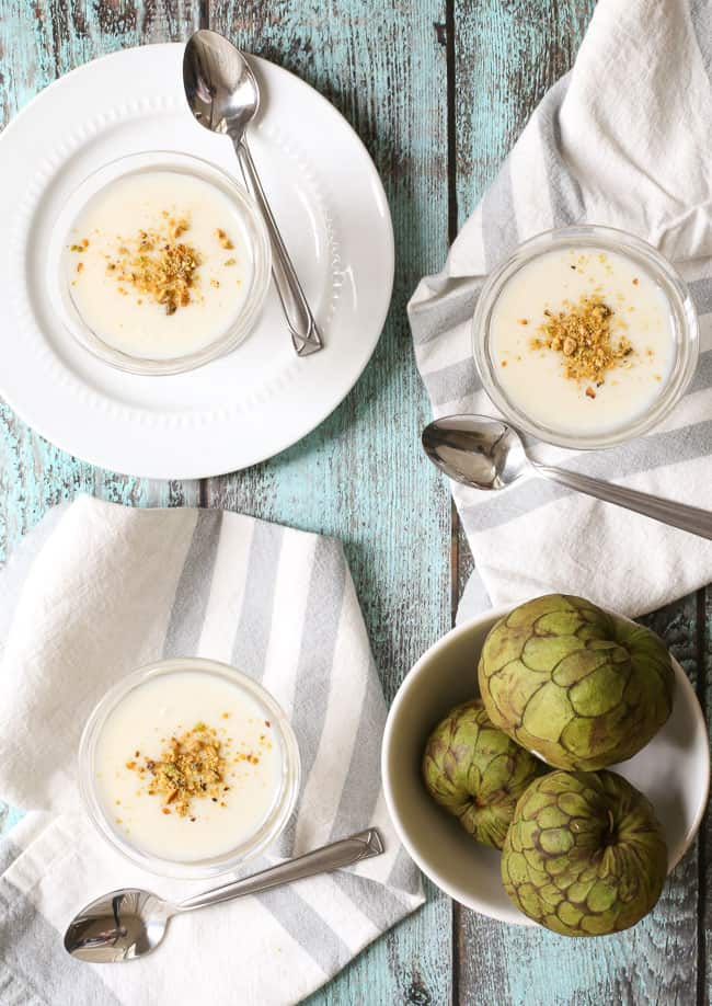 cherimoya recipes: cherimoya pudding with toasted pistachios