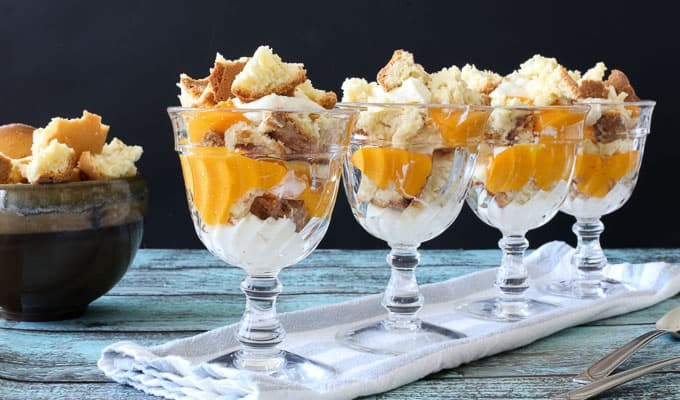 Mango Puree Trifles w. White Chocolate Whipped Cream