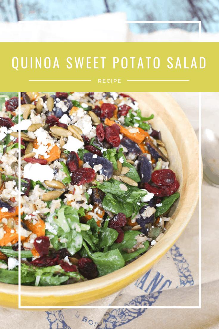 quinoa sweet potato salad with cranberries and pumpkin seeds