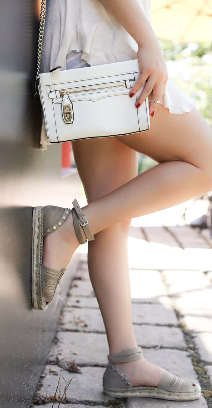 Frayed top over striped shorts and taupe espadrilles