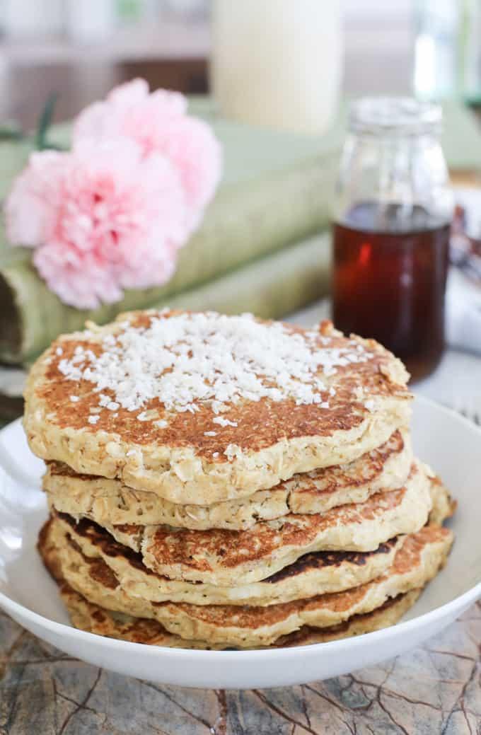 Oat-filled gluten free coconut pancakes