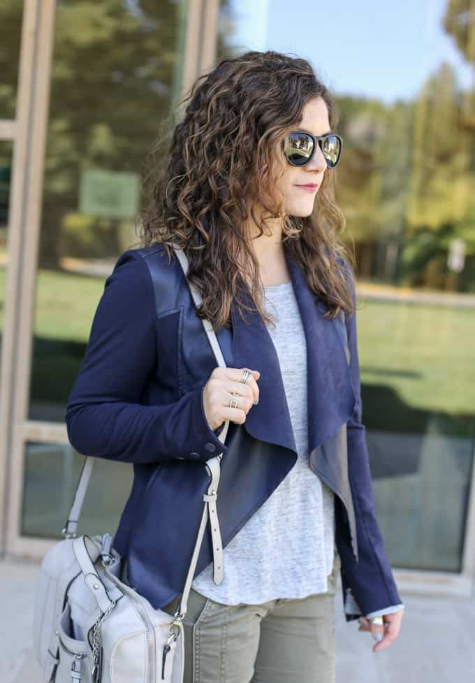 Fall Fashion: navy jacket over olive pants and gray pops of color