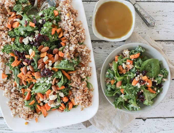 Quinoa Bulgur Salad with Sweet Potatoes, Kale, Almonds, Gorgonzola and a Sweet Tahini Dressing
