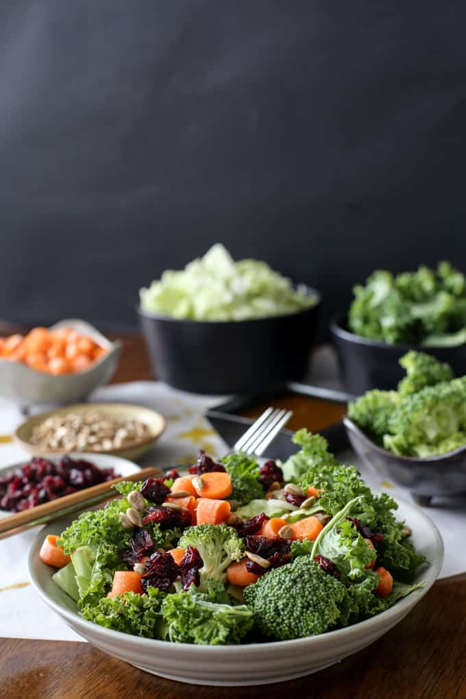 Vegan Broccoli Kale Salad with a Sweet and Spicy Dressing