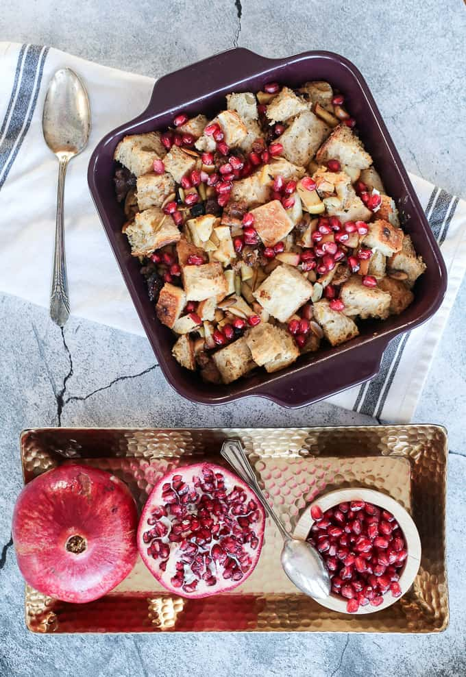 My go-to Thanksgiving dish for stuffing - apple sausage stuffing with berries and seeds!